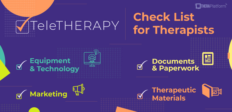 teletherapy, technology teletherapy, teletherapy check list, telehealth, telehealth check lit