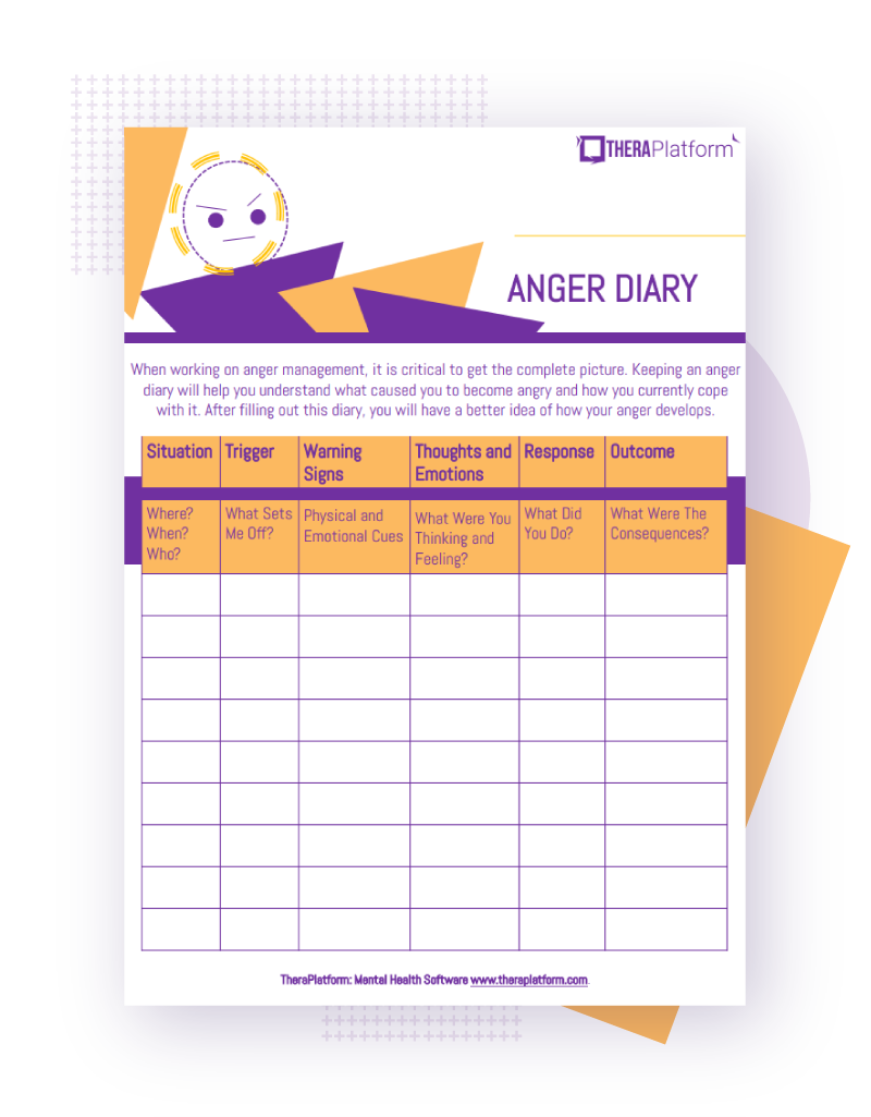 Anger Diary Worksheets